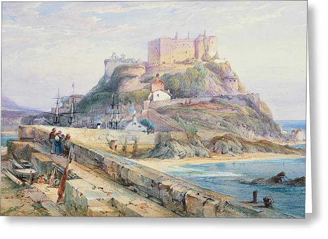 Mont Orgueil Castle Greeting Card by Richard Principal Leitch
