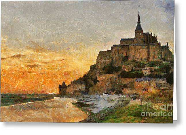 Camille Pissarro Photographs Greeting Cards - Mont Saint Michel at Dusk France Greeting Card by David Carton
