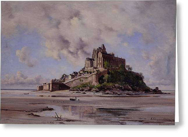 Built Paintings Greeting Cards - Mont Saint Michel Greeting Card by Emmanuel Lansyer