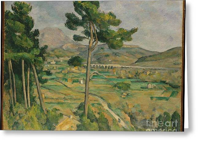 Victoire Paintings Greeting Cards - Mont Sainte-Victoire and the Viaduct of the Arc River Valley Greeting Card by Celestial Images