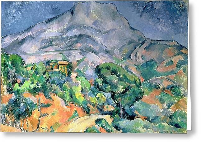 Victoire Paintings Greeting Cards - Mont Sainte Victoire Greeting Card by Paul Cezanne