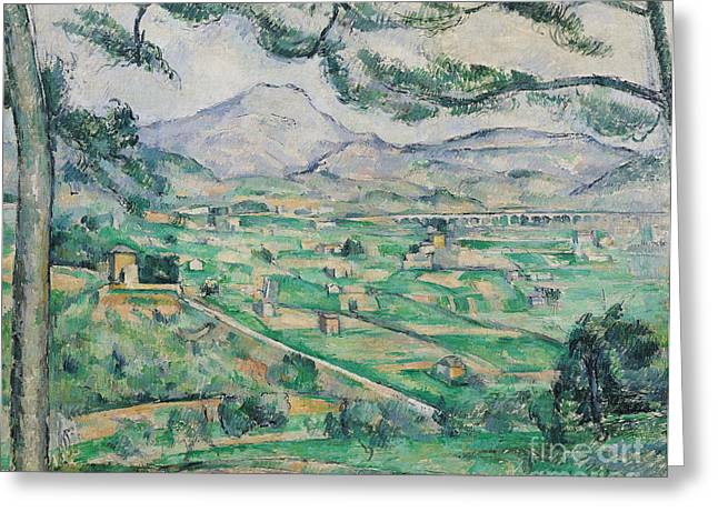 Victoire Paintings Greeting Cards - Montagne Sainte Victoire Greeting Card by Paul Cezanne