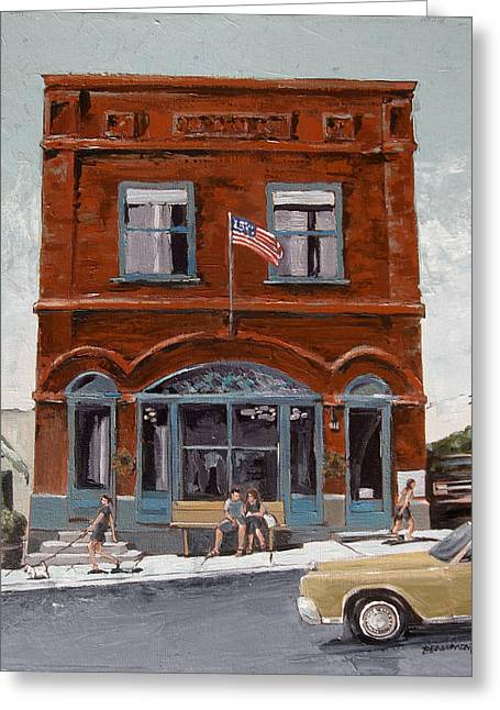 Road Trip Paintings Greeting Cards - Montana Bank Greeting Card by Steve Beaumont