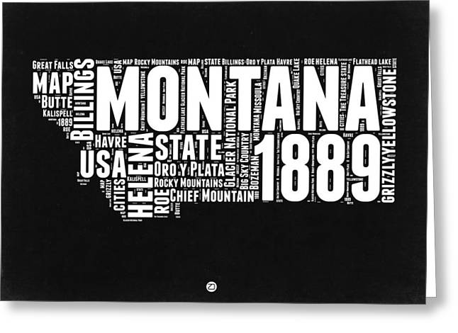 Montana Black And White Map Greeting Card by Naxart Studio