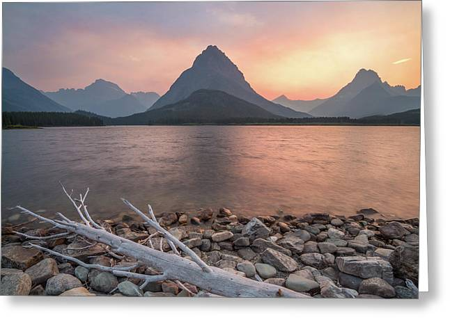 Montana Gold // Swiftcurrent Lake, Glacier National Park  Greeting Card by Nicholas Parker