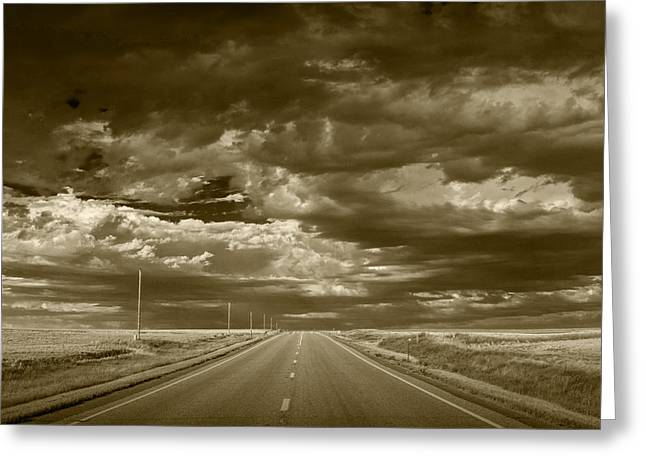 Montana Landscapes Photographs Greeting Cards - Montana Highway 2 in Sepia Greeting Card by Randall Nyhof