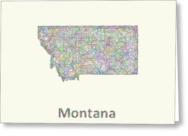 Montana Map Greeting Cards - Montana line art map Greeting Card by David Zydd