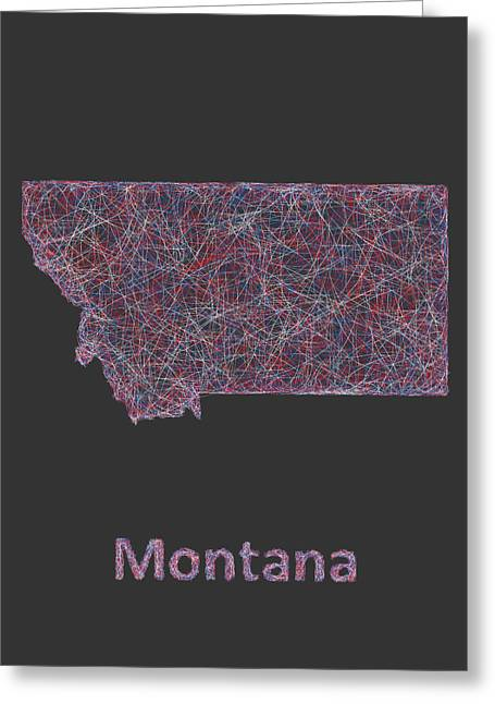 Montana Map Greeting Cards - Montana map Greeting Card by David Zydd