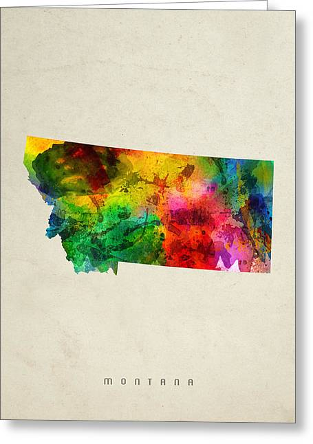Montana State Map Greeting Cards - Montana State Map 01 Greeting Card by Aged Pixel