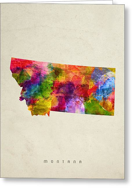 Montana State Map Greeting Cards - Montana State Map 02 Greeting Card by Aged Pixel