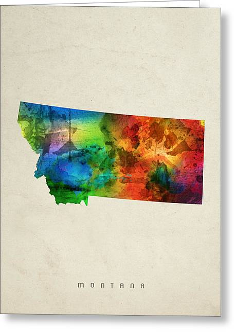 Montana State Map 03 Greeting Card by Aged Pixel