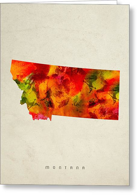 Montana State Map 04 Greeting Card by Aged Pixel