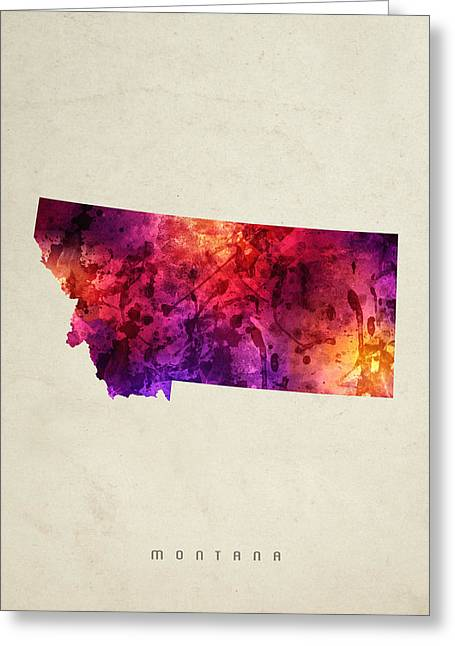 Montana State Map Greeting Cards - Montana State Map 05 Greeting Card by Aged Pixel