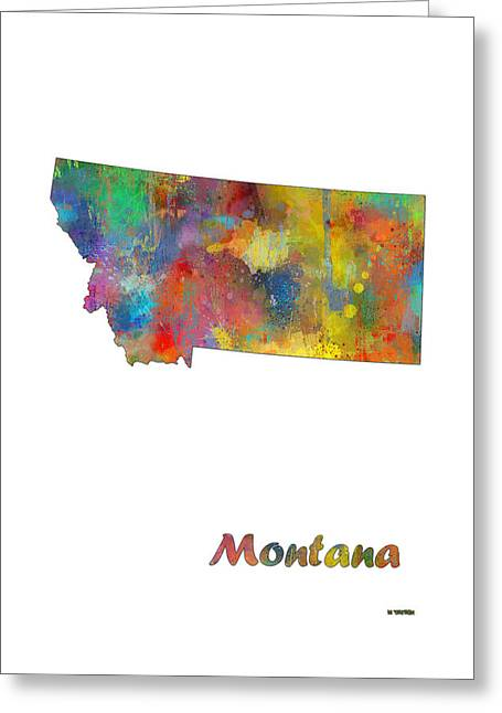 Montana State Map Greeting Cards - Montana State Map Greeting Card by Marlene Watson