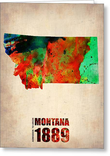Montana State Map Greeting Cards - Montana Watercolor Map Greeting Card by Naxart Studio