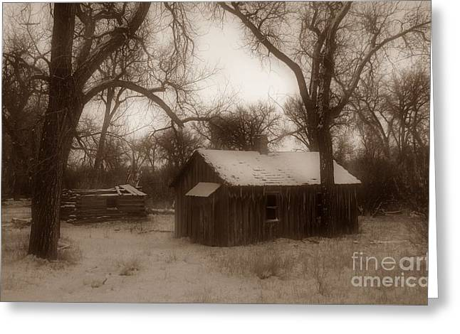 Montana Winter Twilight Sepia Greeting Card by Chalet Roome-Rigdon