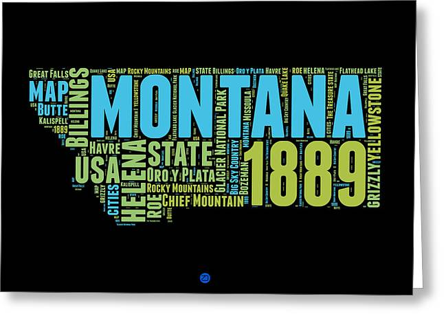 Montana State Map Greeting Cards - Montana Word Cloud 1 Greeting Card by Naxart Studio