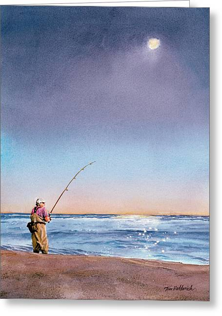 Fisherman Print Greeting Cards - Montauk Evening Greeting Card by Tom Hedderich