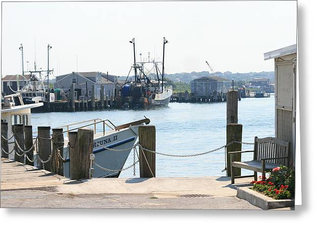 Montauk Harbor  Greeting Card by Christopher Kirby
