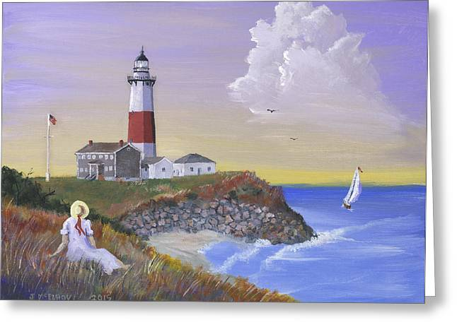 East Hampton Paintings Greeting Cards - Montauk Lighthouse Greeting Card by Jerry McElroy