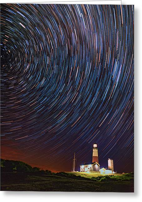 Meteor Greeting Cards - Montauk Star Trails Greeting Card by Rick Berk
