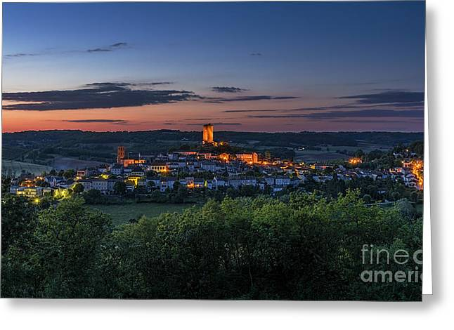 Dungeons Greeting Cards - Montcuq at Night Greeting Card by Tony Priestley