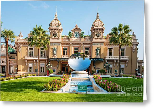 Monte Carlo Casino And Sky Mirror In Monaco Greeting Card by Elena Elisseeva