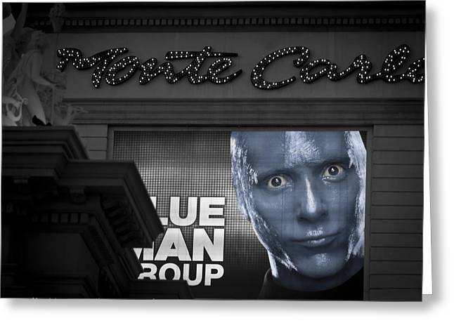 Blue Man Group Greeting Cards - Monte Carlo Greeting Card by Leslie Hagen