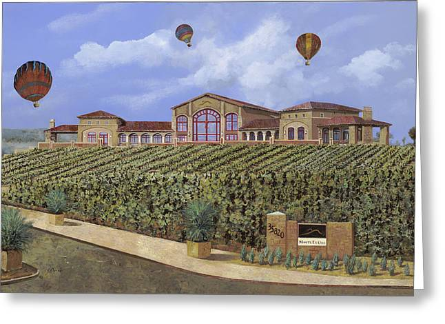 Monte De Oro And The Air Balloons Greeting Card by Guido Borelli