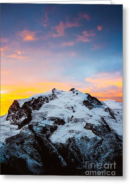 Swiss Photographs Greeting Cards - Monte Rosa at sunrise Greeting Card by Peter Wey