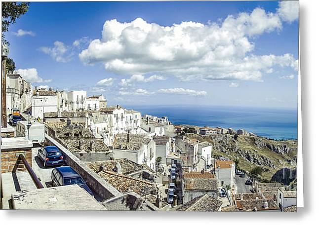 Monte Sant Angelo Canvas - Panorama Prints Adriatic Sea - Gargano Italy Quadri Greeting Card by Luca Lorenzelli