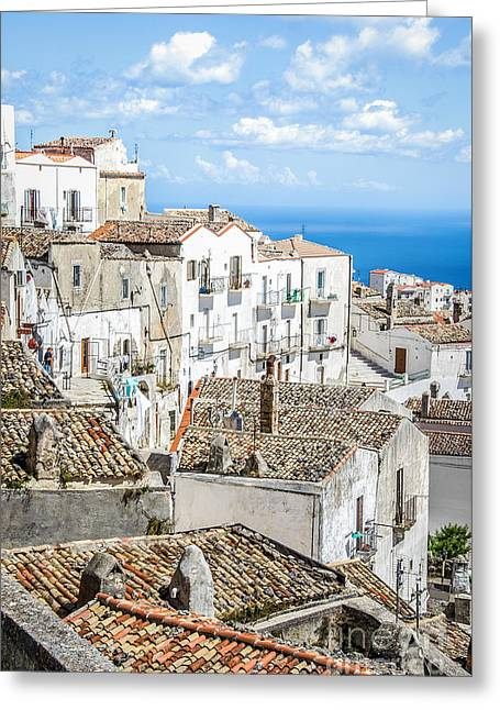 Monte Sant Angelo - White Houses Roofs Gargano Canvas  Apulia Prints Greeting Card by Luca Lorenzelli