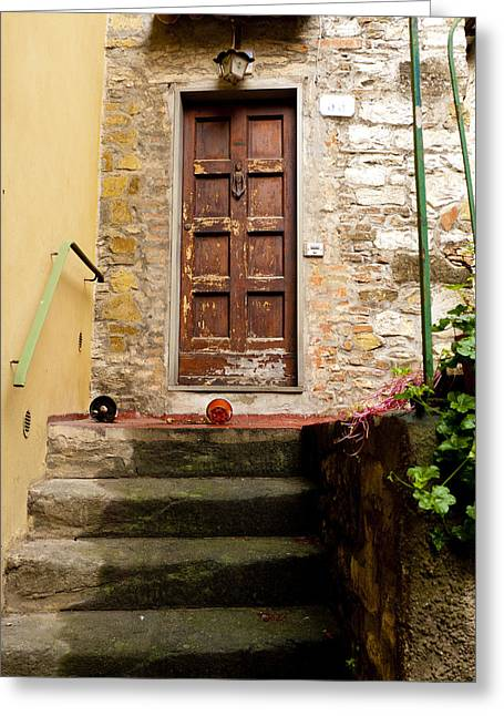 Montefioralle Door Greeting Card by Rae Tucker