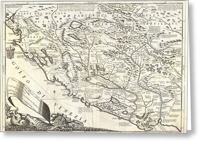 Montenegro 1690 Map Greeting Card by Dan Sproul