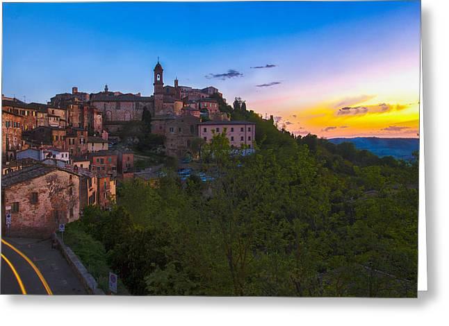 Sienna Italy Greeting Cards - Montepulciano Sunset Greeting Card by Arturo Paulino
