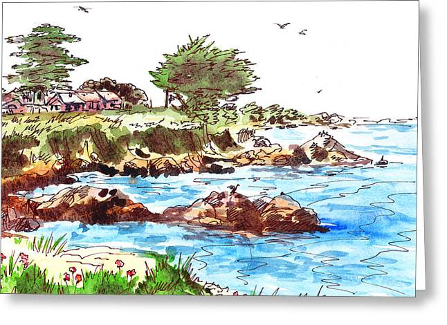Blue Sailboat Greeting Cards - Monterey Shore Greeting Card by Irina Sztukowski