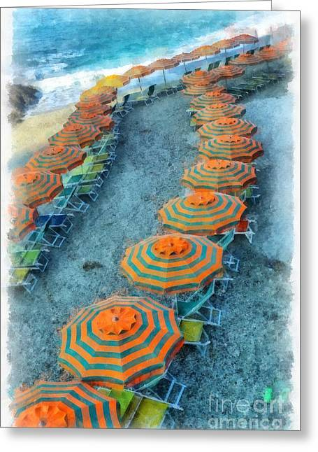 Brightness Greeting Cards - Monterosso al Mare Cinque Terra Italy Watercolor Greeting Card by Edward Fielding