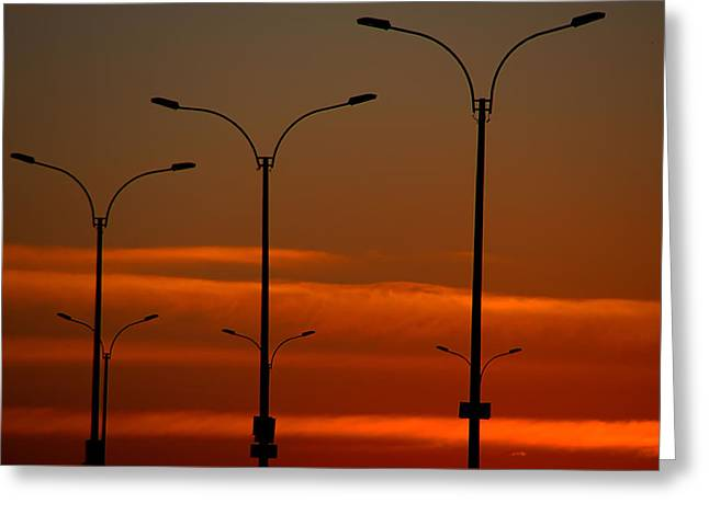 Streetlight Greeting Cards - Montevideo Abstract Greeting Card by Steven Richman