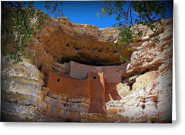 Indian Dwelling Greeting Cards - Montezuma Castle in Arizona Greeting Card by Jen White