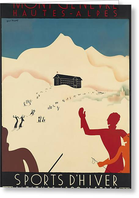 Skiing Poster Greeting Cards - Mont_Genevre Greeting Card by David Wagner