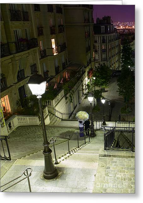 Night Lamp Greeting Cards - Montmartre Paris France in colors Greeting Card by World Art Photography
