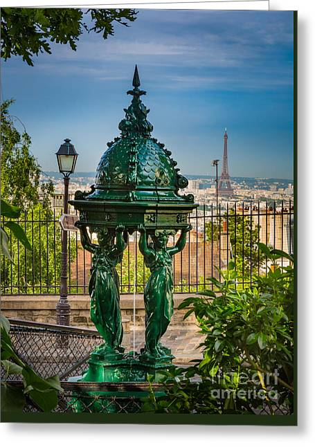 Montmartre Wallace Fountain Greeting Card by Inge Johnsson