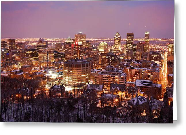 Montreal city lights Greeting Card by Pierre Leclerc Photography