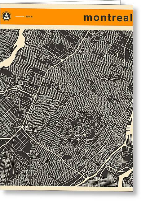Montreal Streets Greeting Cards - Montreal City Map Greeting Card by Jazzberry Blue