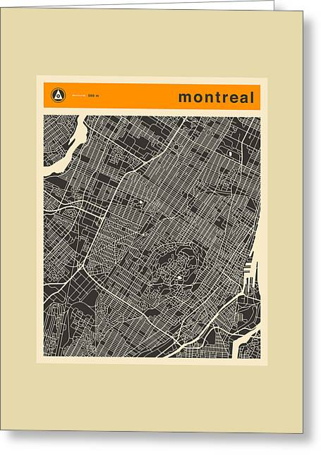Montreal Art Greeting Cards - Montreal City Map Greeting Card by Jazzberry Blue