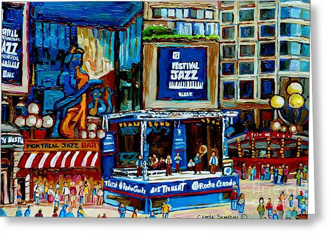 Bands On Stage Paintings Greeting Cards - Montreal City Paintings By Streetscene Specialist Carole Spandau  Over 500 Prints Available Greeting Card by Carole Spandau