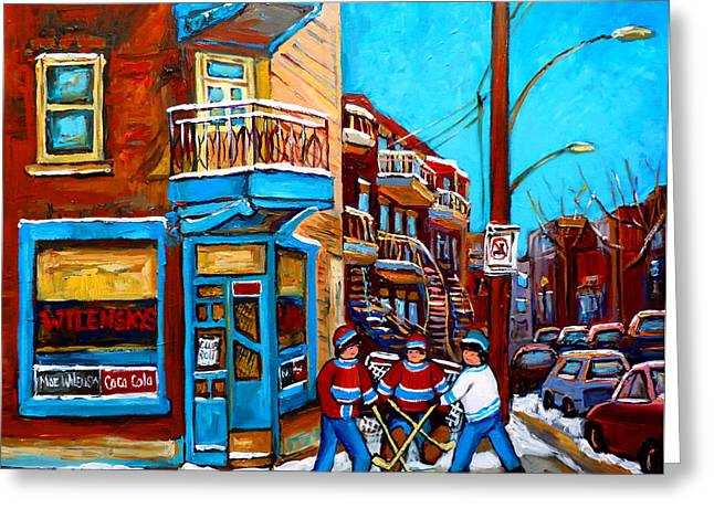 MONTREAL CITY SCENE HOCKEY AT WILENSKYS Greeting Card by CAROLE SPANDAU