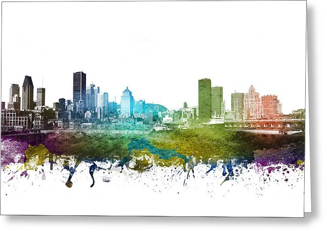Rainbows Drawings Greeting Cards - Montreal cityscape 01 Greeting Card by Aged Pixel