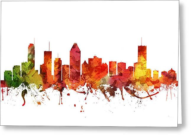 Canadian Drawings Greeting Cards - Montreal Cityscape 04 Greeting Card by Aged Pixel
