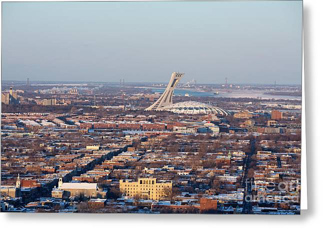 Evening Lights Greeting Cards - Montreal cityscape with Olympic Stadium Greeting Card by Jane Rix